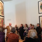 Richard Wood elegantly interpreting Burges' cartoons at the Glucksman Gallery to  enthralled members
