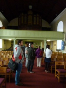 The church recording volunteers' first visit to St Anne's, Shandon